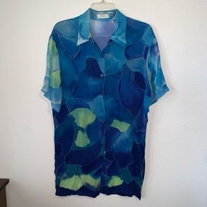 Gottex Tropical Button Up Swimsuit CoverUp Sheer S